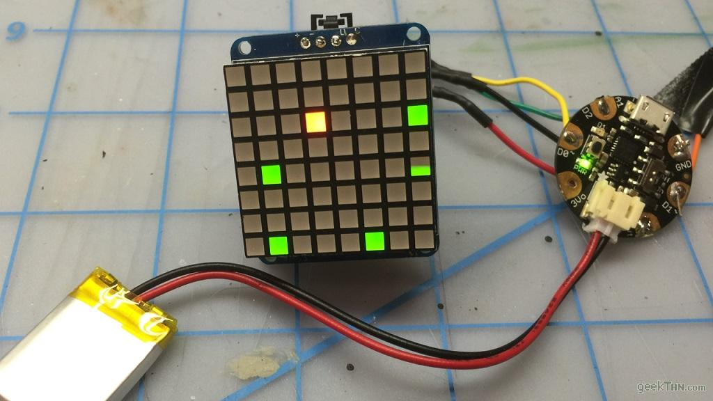 Arduino Gemma 8-pixel Bicolor Matrix Build – GeekTAN com